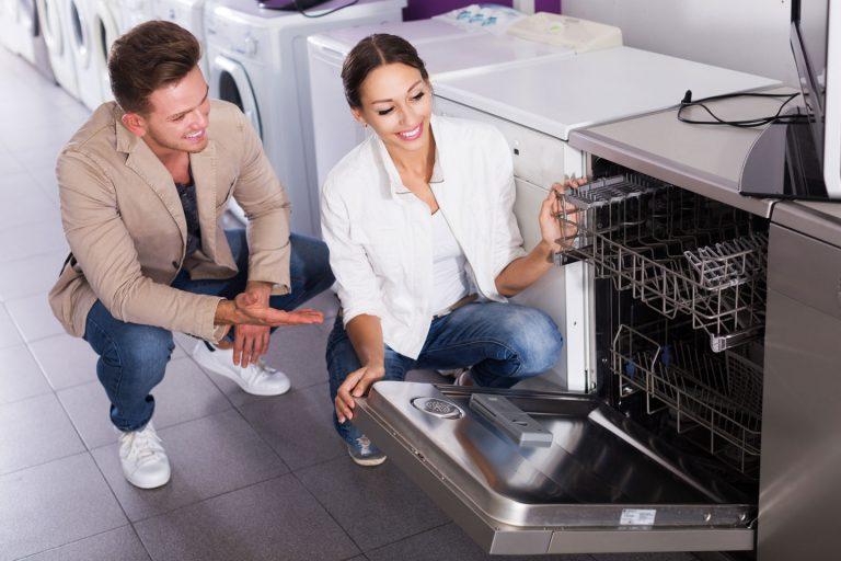 Couple shopping for dishwasher